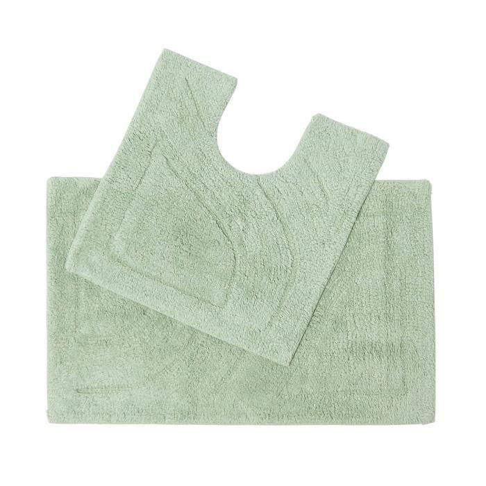tapis de bain pur coton haut de gamme 2 pi ces vert sauge achat vente tapis de bain. Black Bedroom Furniture Sets. Home Design Ideas