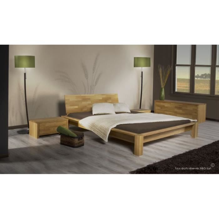 pack lit complet en chene massif ontario 160x200 1 chevet achat vente chambre compl te pack. Black Bedroom Furniture Sets. Home Design Ideas
