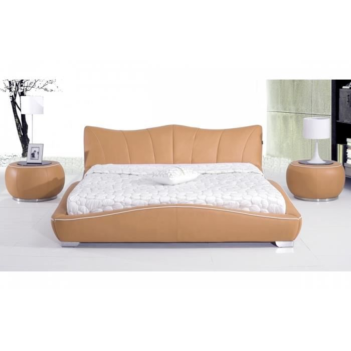 lit en cuir italien de luxe luxen achat vente structure de lit cdiscount. Black Bedroom Furniture Sets. Home Design Ideas