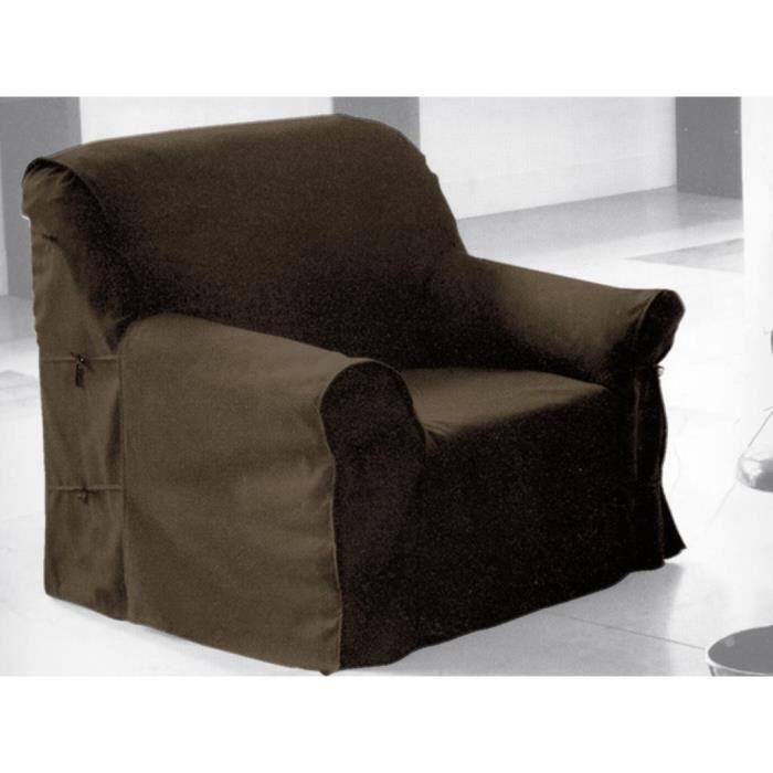 Housse de fauteuil en coton panama taupe achat vente for Housse fauteuil 3 suisses