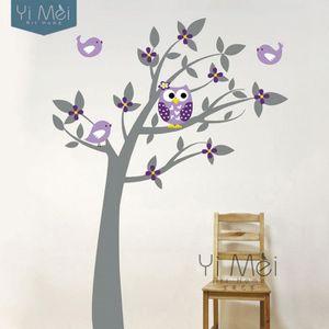 hiboux vinyle arbre sticker adh sifs muraux stickers mural wallpaper enfants enfants b b. Black Bedroom Furniture Sets. Home Design Ideas