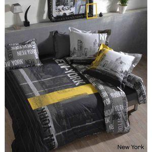 parure de lit jaune et gris achat vente parure de lit jaune et gris pas cher cdiscount. Black Bedroom Furniture Sets. Home Design Ideas