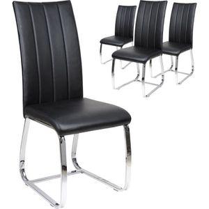 CHAISE Lot de 4 chaises de table PU noir Noir