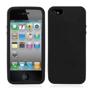 COQUE - BUMPER Coque silicone souple NOIR Pure color pour iPhone
