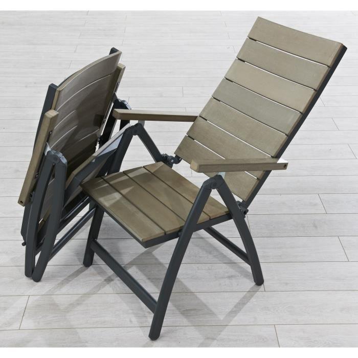 Fauteuil multiposition de jardin composite anthracite achat vente fauteuil jardin fauteuil for Fauteuil de jardin pliant multiposition