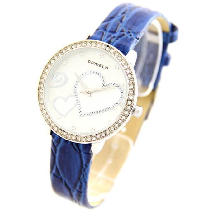 montre pour femme en cuir bleu 2514 m tal achat vente montre cdiscount. Black Bedroom Furniture Sets. Home Design Ideas