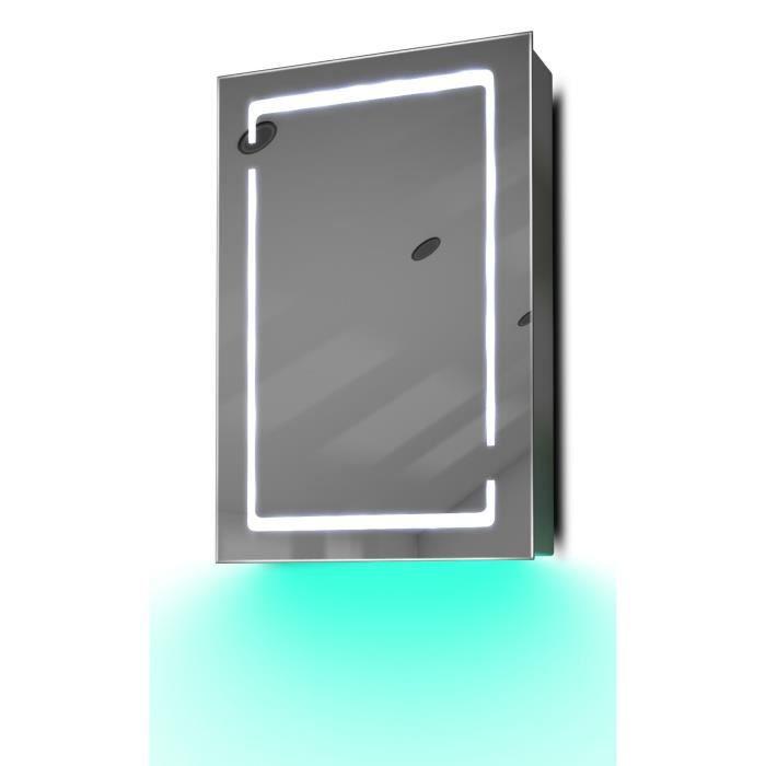armoire de toilette anti bu e avec capteur et prise rasoir int rieure k350t gris taille h. Black Bedroom Furniture Sets. Home Design Ideas
