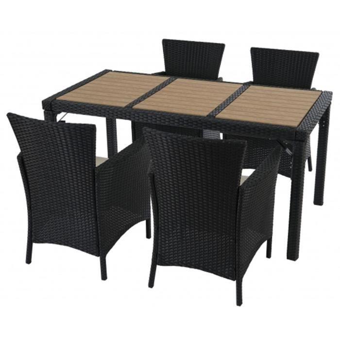 Ensemble de 4 chaises et table de 150 x 80 cm de jardin for Table de 3 et 4