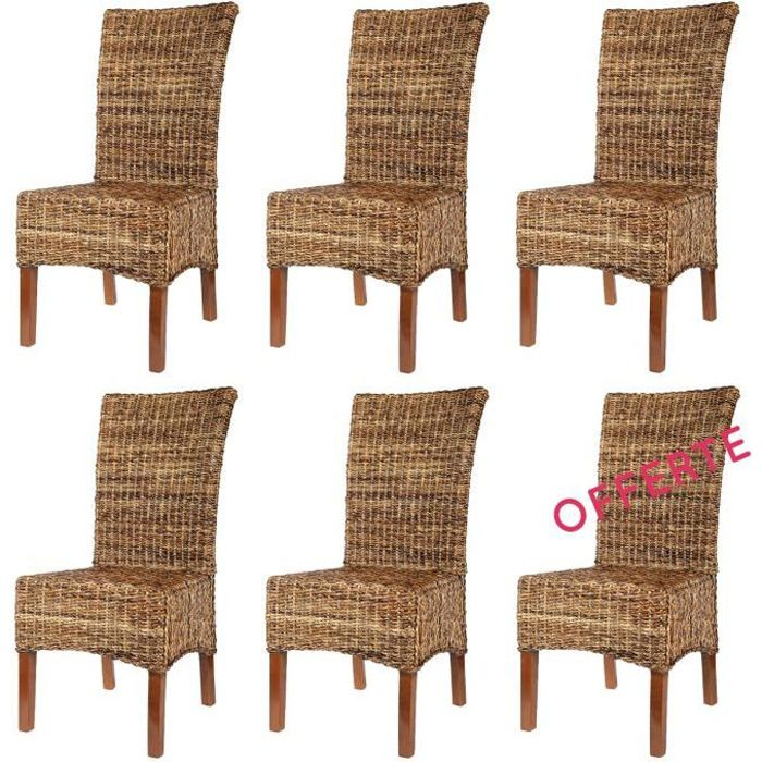 Lot 6 chaises elips abaca achat vente chaise rotin for Chaises en rotin salle a manger