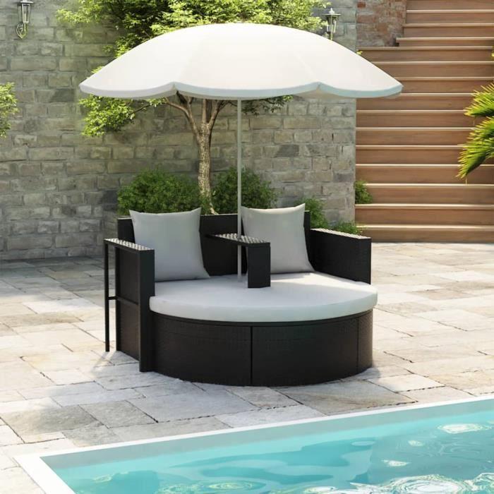 canap de 2 places rond noir avec le parasol achat vente fauteuil jardin canap de 2 places. Black Bedroom Furniture Sets. Home Design Ideas