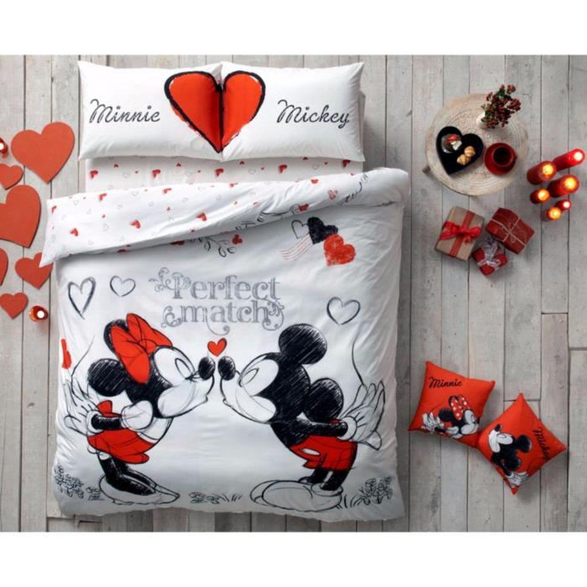 Disney amour imprim e 100 coton 2 personnes parure de - Taille drap housse 2 personnes ...