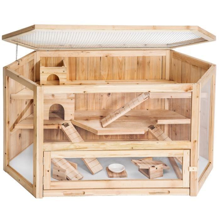 animalerie cage xxl en bois  etages pour petits rongeurs ani f auc