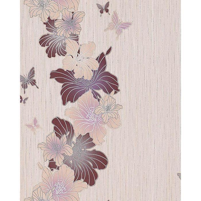 papier peint design motif floral fleurs et papillons edem 108 33 beige taupe brun clair brun. Black Bedroom Furniture Sets. Home Design Ideas