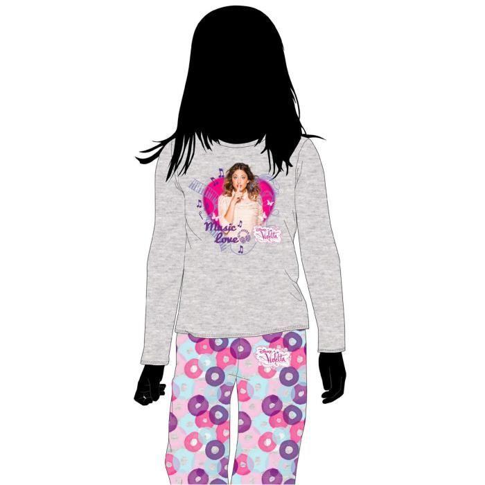 violetta pyjama long pour fille 10 ans music love achat vente pyjama chemise de nuit. Black Bedroom Furniture Sets. Home Design Ideas