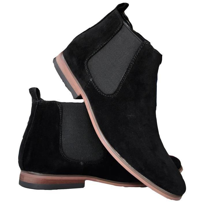 Bottines homme noires à semelles bois, aspect daim. , Bottines chelsea boots noires pour homme, semelle et doublure intérieures en cuir, semelle extérieure