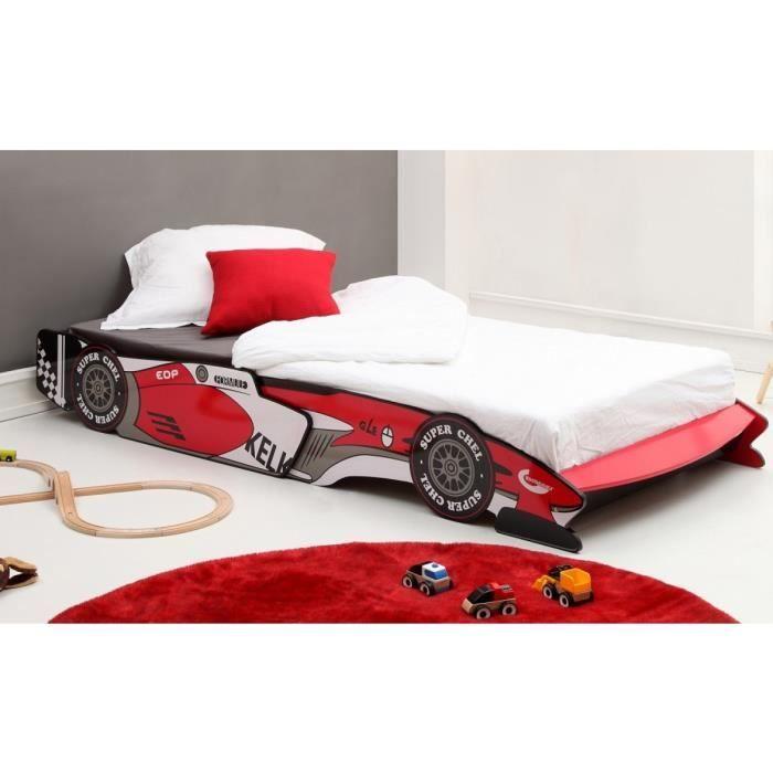 Lit enfant voiture de course rouge 90x190 200 achat - Lit voiture de course ...