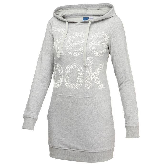 reebok sweat capuche femme gris achat vente sweatshirt cadeaux de no l cdiscount. Black Bedroom Furniture Sets. Home Design Ideas