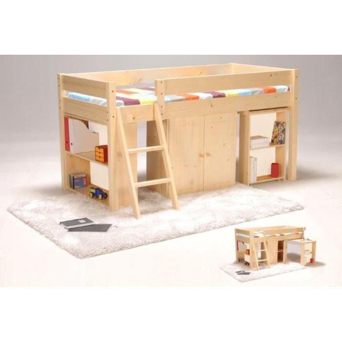tino lit combin enfant 90x190cm finition brut achat vente lit combine soldes d t. Black Bedroom Furniture Sets. Home Design Ideas