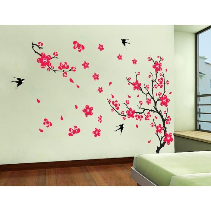 Wall Decor With Wallpaper : Fleurs de prunier vives et hirondelles gaies stick achat