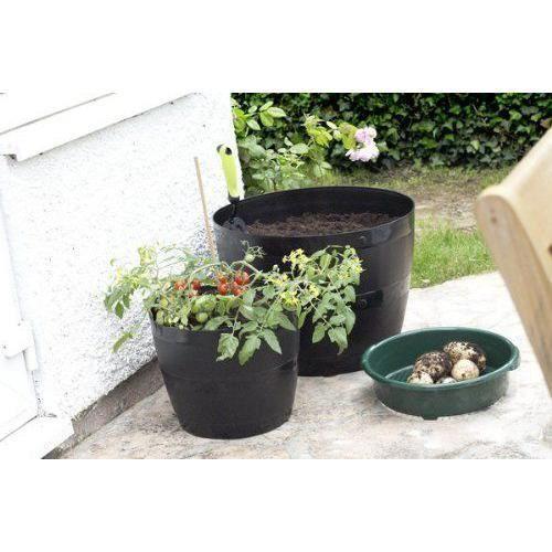 whitefurze g0834bl pot de fleurs rond noir 34cm achat vente jardini re pot fleur. Black Bedroom Furniture Sets. Home Design Ideas