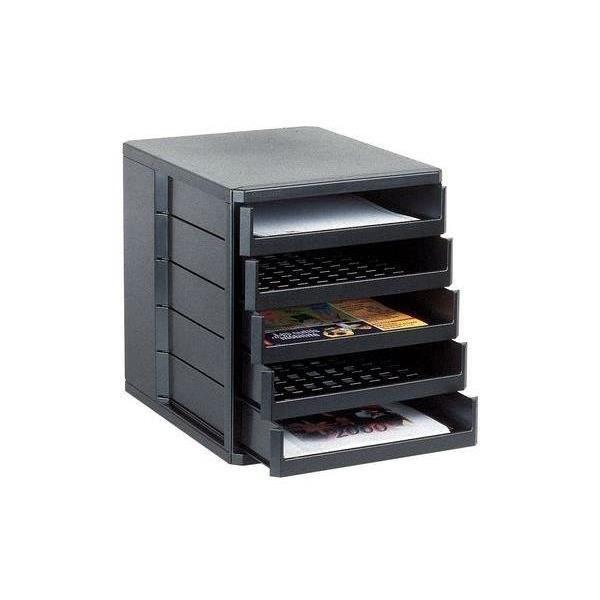 Module de classement standard 5 tiroirs noir achat for Meuble de classement a tiroirs