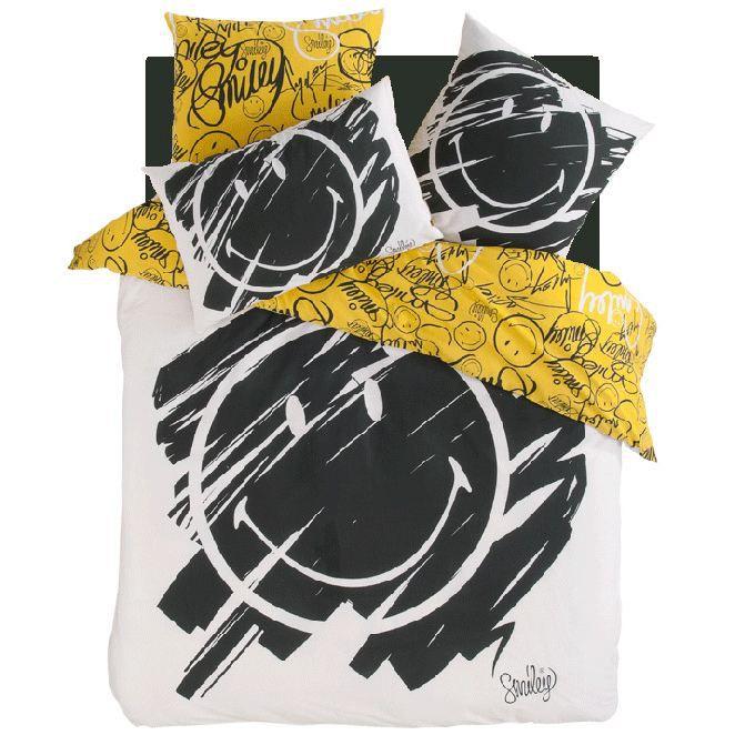 parure de lit smiley graffiti 200 x 200 cm 2 achat. Black Bedroom Furniture Sets. Home Design Ideas