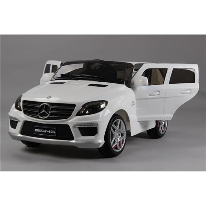 mercedes ml63 amg blanche voiture lectrique enfant 12v 2 moteurs t l commande parentale. Black Bedroom Furniture Sets. Home Design Ideas