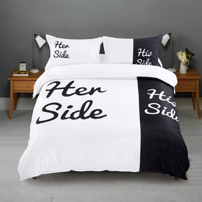 noir blanc ensemble de literie son side her side home textiles doux housse de couette bed set. Black Bedroom Furniture Sets. Home Design Ideas