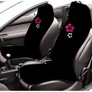 2 couvre si ges ponge noir avec hibiscus achat vente for Housse voiture rose