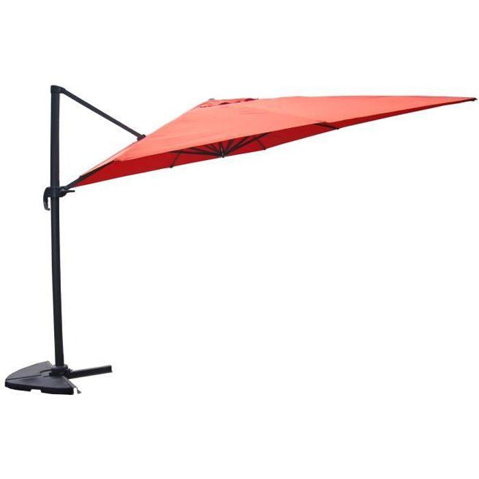 Cesare red parasol d port rectangulaire de 3x4m achat vente parasol ces - Parasol deporte rouge ...