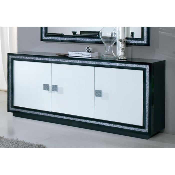 Buffet bahut noir et blanc laqu 3 portes design maciano 3 portes achat v - Bahut blanc et noir laque ...