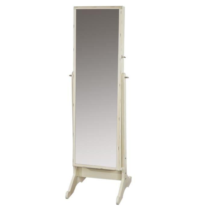 armoire bijoux blanc effet vieilli avec miroir achat. Black Bedroom Furniture Sets. Home Design Ideas