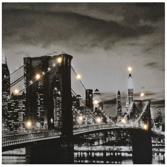 Tableau toile lumineuse led deco pont brooklyn achat for Tableau lumineux new york