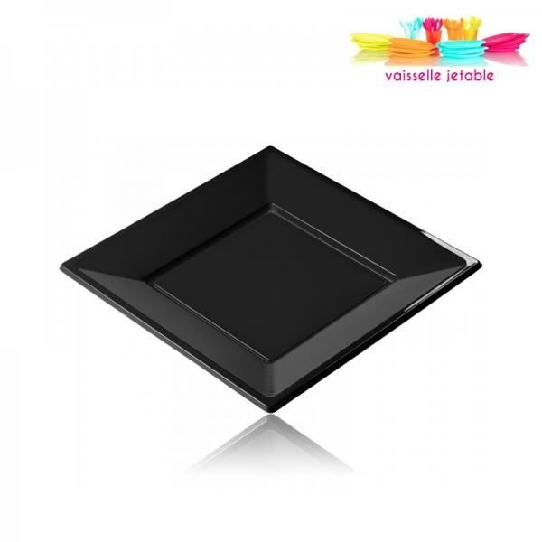 12 assiettes jetables plastique carr 23cm noir achat for Table exterieur plastique noir