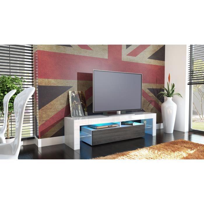 Meuble tv blanc et bois weng 151 cm achat vente - Meuble tv bois et laque blanc ...