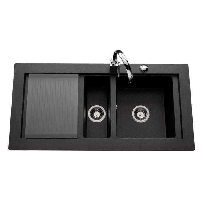 vier granit noir sena 1 bac 1 2 1 gouttoir achat vente evier de cuisine vier granit. Black Bedroom Furniture Sets. Home Design Ideas