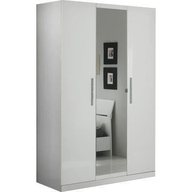 armoire 3 portes blanc laqu avec miroir central achat vente armoire de chambre armoire 3. Black Bedroom Furniture Sets. Home Design Ideas