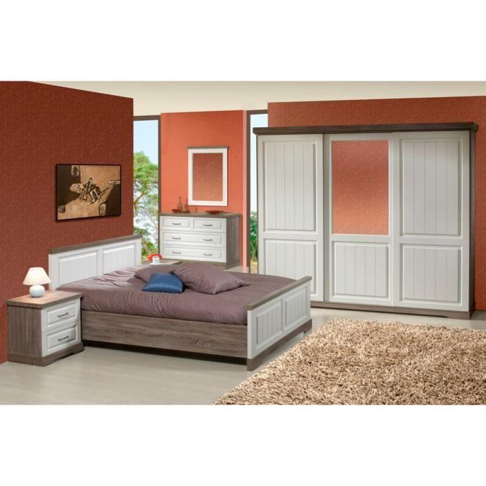 Ensemble chambre coucher compl te romantique avec armoire 3p coulissantes c - Chambre a coucher cdiscount ...