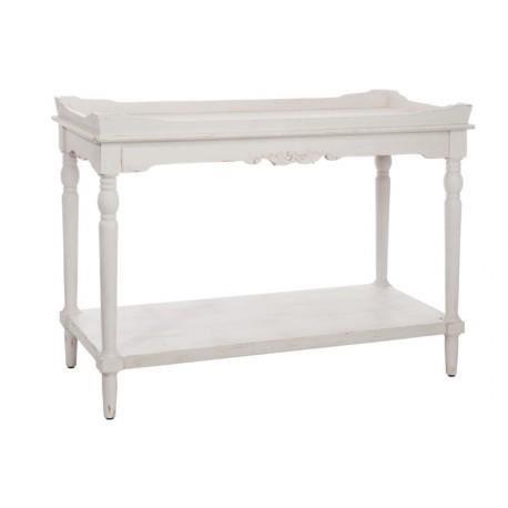 console romantique plateau bois blanc 1065x508x795cm j line cette grande console romantique avec sn plateau fixe en bois blanc patin donnera tout le - Plateau Romantique