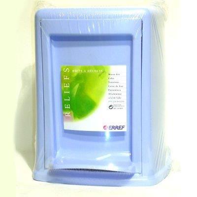 Poubelle salle de bain carr e bleu azur reliefs achat for Poubelle de salle de bain bleu