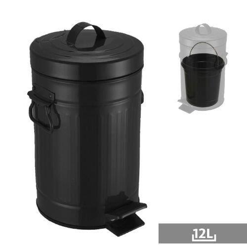 poubelle retro 12 l noir achat vente poubelle corbeille poubelle retro 12 l noir. Black Bedroom Furniture Sets. Home Design Ideas