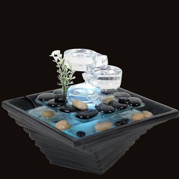 Fontaine d 39 int rieur led en verre himalaya achat vente for Fontaine interieure zen