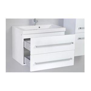 meuble bas et vasque 60 cm blanc laque 2 tiroirs achat vente meuble vasque plan meuble. Black Bedroom Furniture Sets. Home Design Ideas