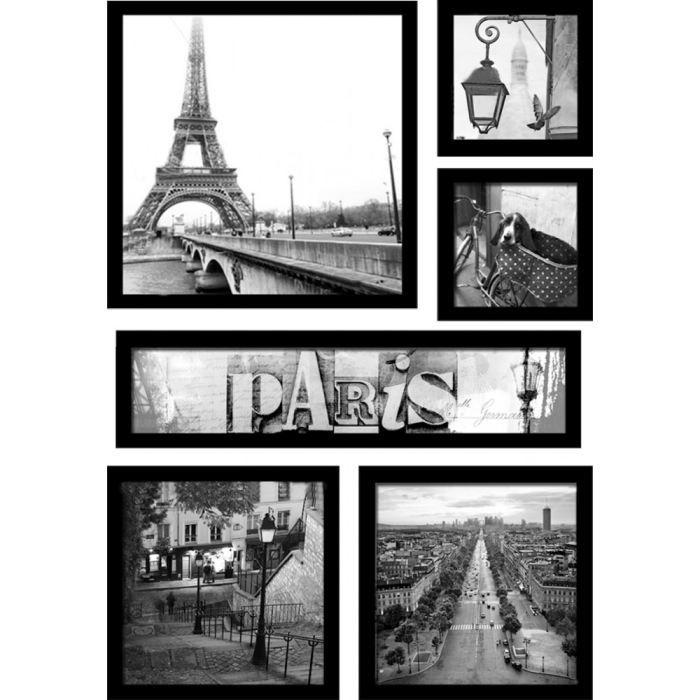 Set de 6 images encadr es vues de paris achat vente for Tableau londres noir et blanc