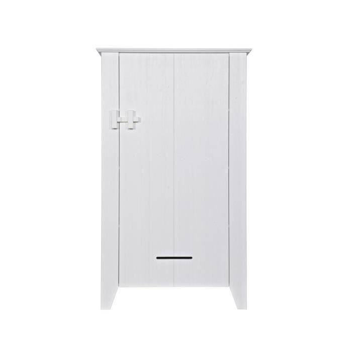 armoire 1 porte en pin bross griet couleur blanc l 39 id al est de placer cette armoire en pin. Black Bedroom Furniture Sets. Home Design Ideas