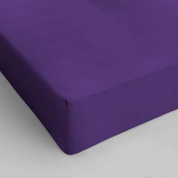 Drap housse 180 cm sup rieur uni violet achat vente for Drap housse 180