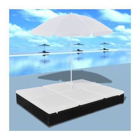 double bain de soleil deluxe avec parasol noir maja. Black Bedroom Furniture Sets. Home Design Ideas