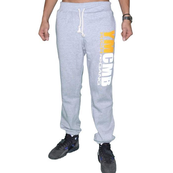 ymcmb bas de jogging homme hp46 gris clair jaune gris gris achat vente surv tement. Black Bedroom Furniture Sets. Home Design Ideas