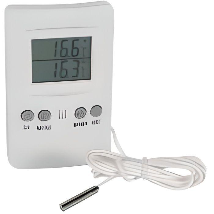 Thermometre interieur exterieur c min max avec sonde for Thermometre interieur pas cher