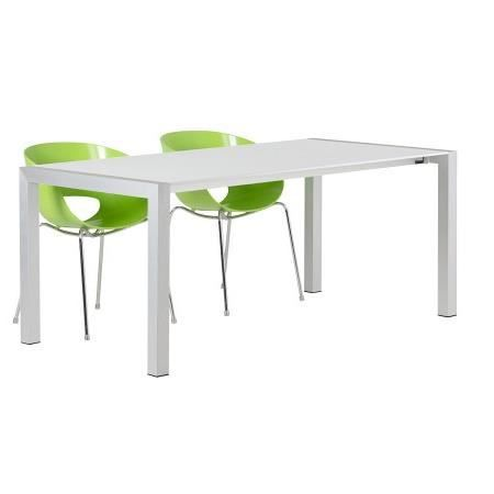 Table d ner extensible 39 miko 39 blanche avec allonges for Table a diner extensible